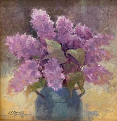 Lilacs, Phillips, oil 8x8 $750