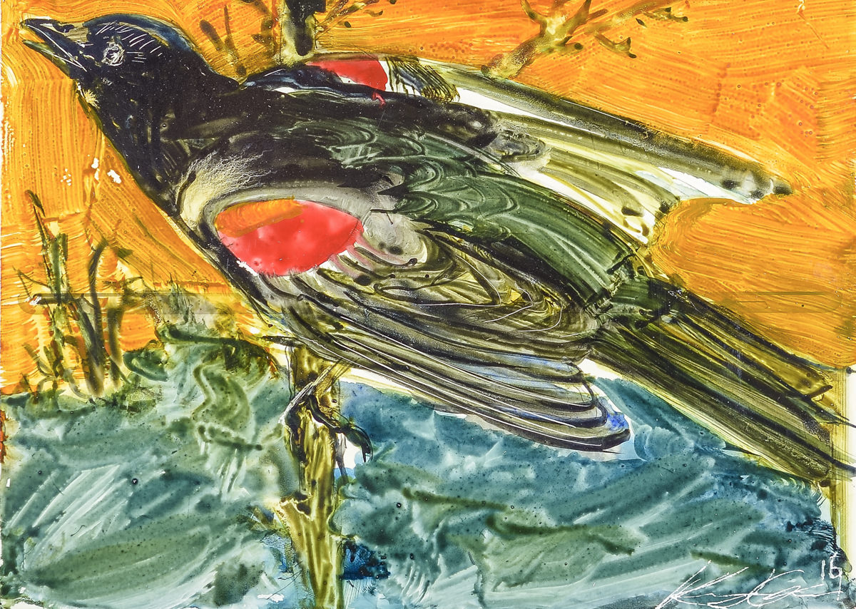 Red Wing Blackbird-Garber, oil on enamel $300(unfr)