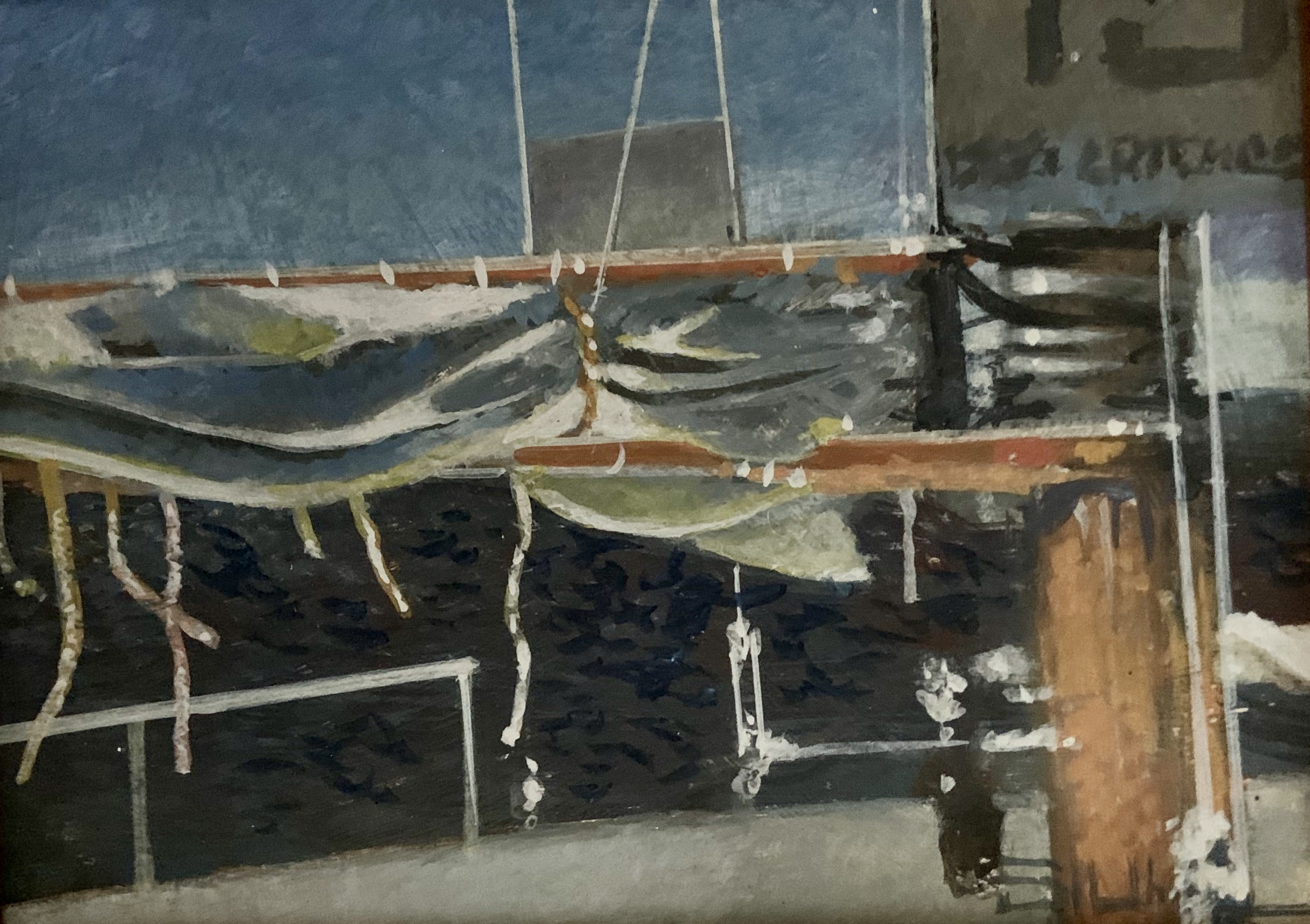 Sail Studies I-S. White, egg tempera 6x8 $450