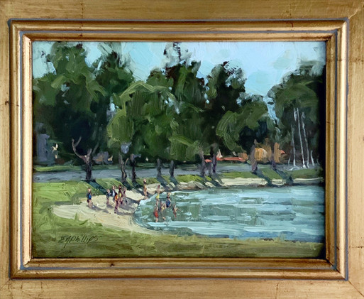 A Strand Day by Elise Phillips, oil 6x8 $675