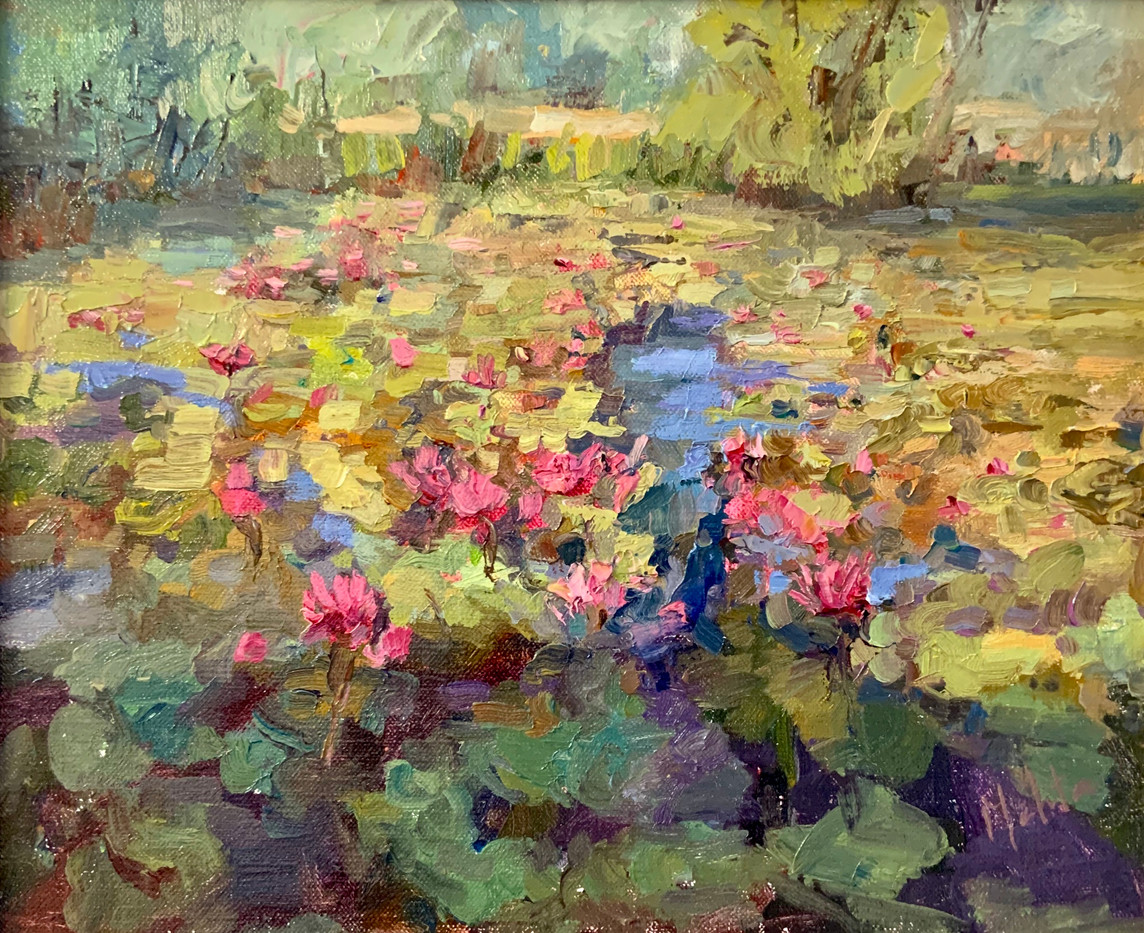 Lily Pond by Lynn Mehta, oil 10x12 $900
