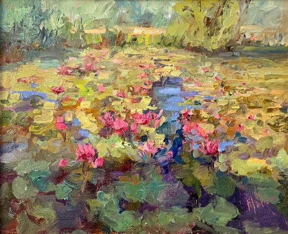 Lily Pond by Lynn Mehta, oil 10x12 $900