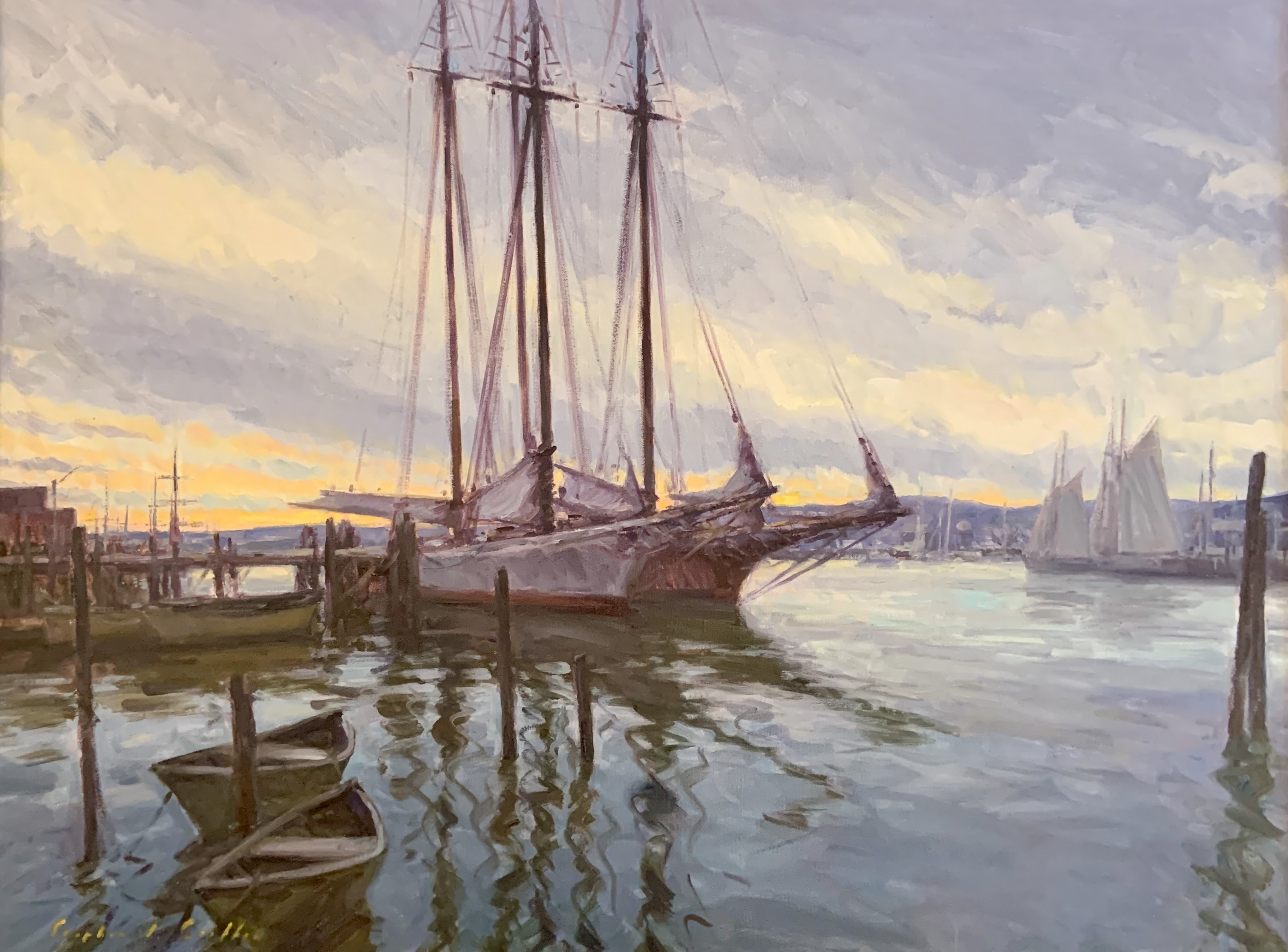 Harbor Sunrise-Griffin, oil 30x40 $5600