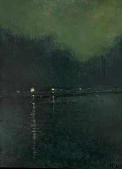 Nocturne 12:44, oil 6x8 $1750