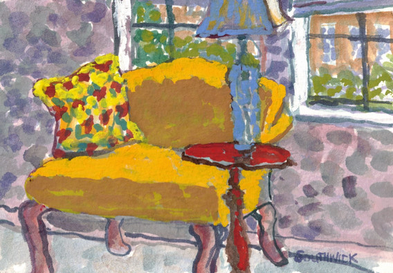 The Blue Lamp, S Southwick, watercolor 5x7 $325 sold