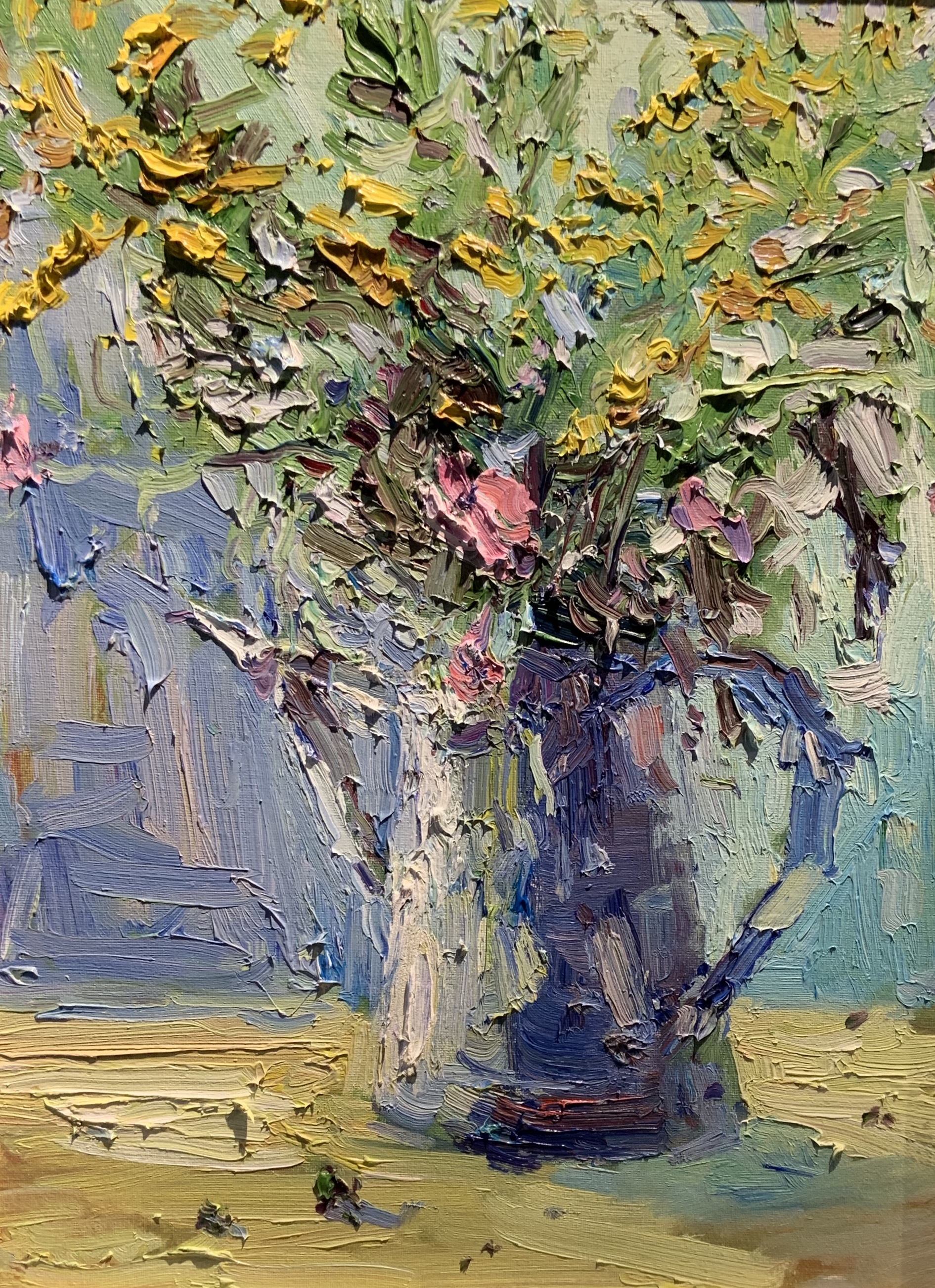 Still Life with Wildflowers(blue)-Haynes, oil 14x18 $1050