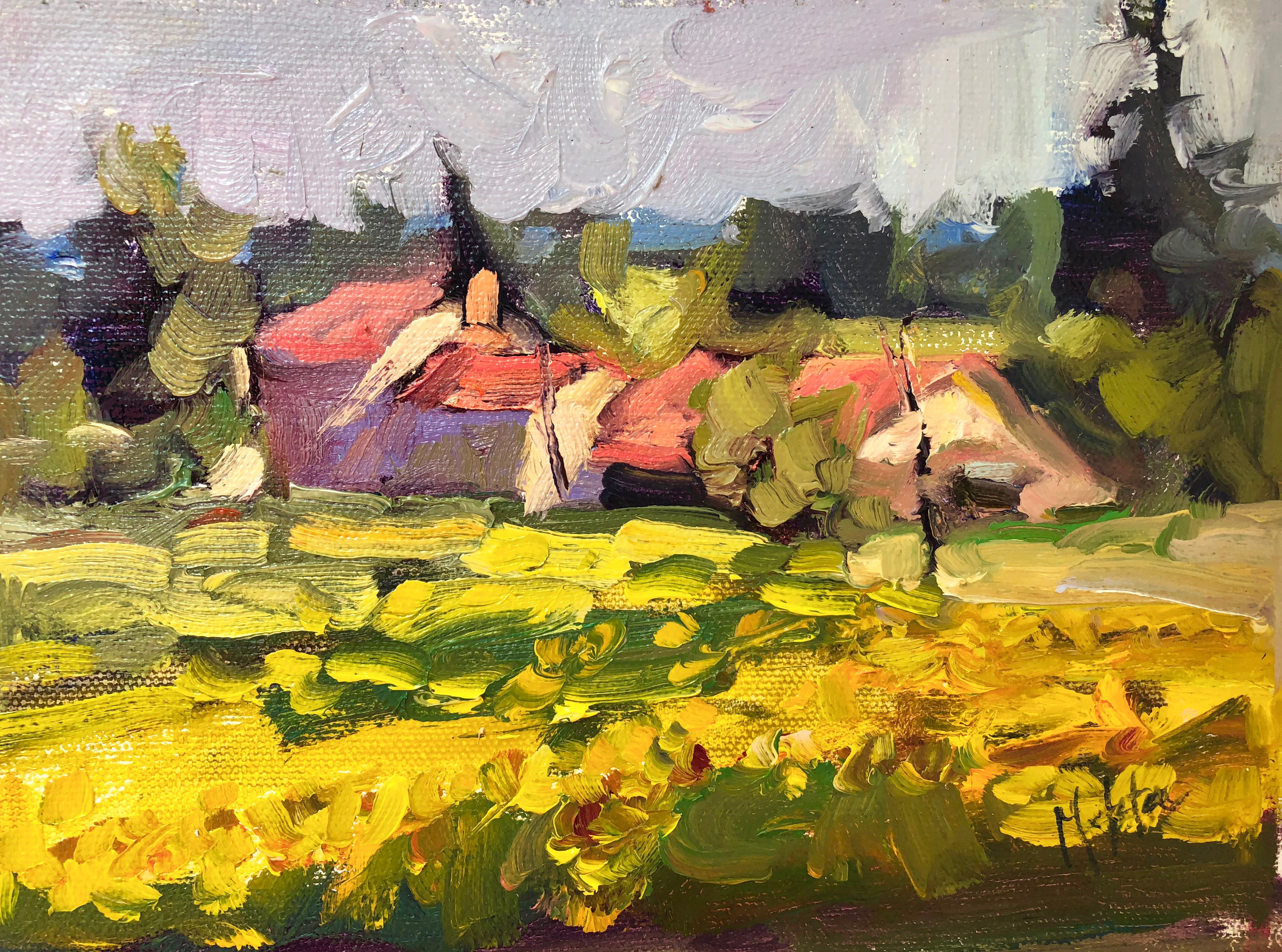Mehta_FarmandSunflowers_12x20_oil_$