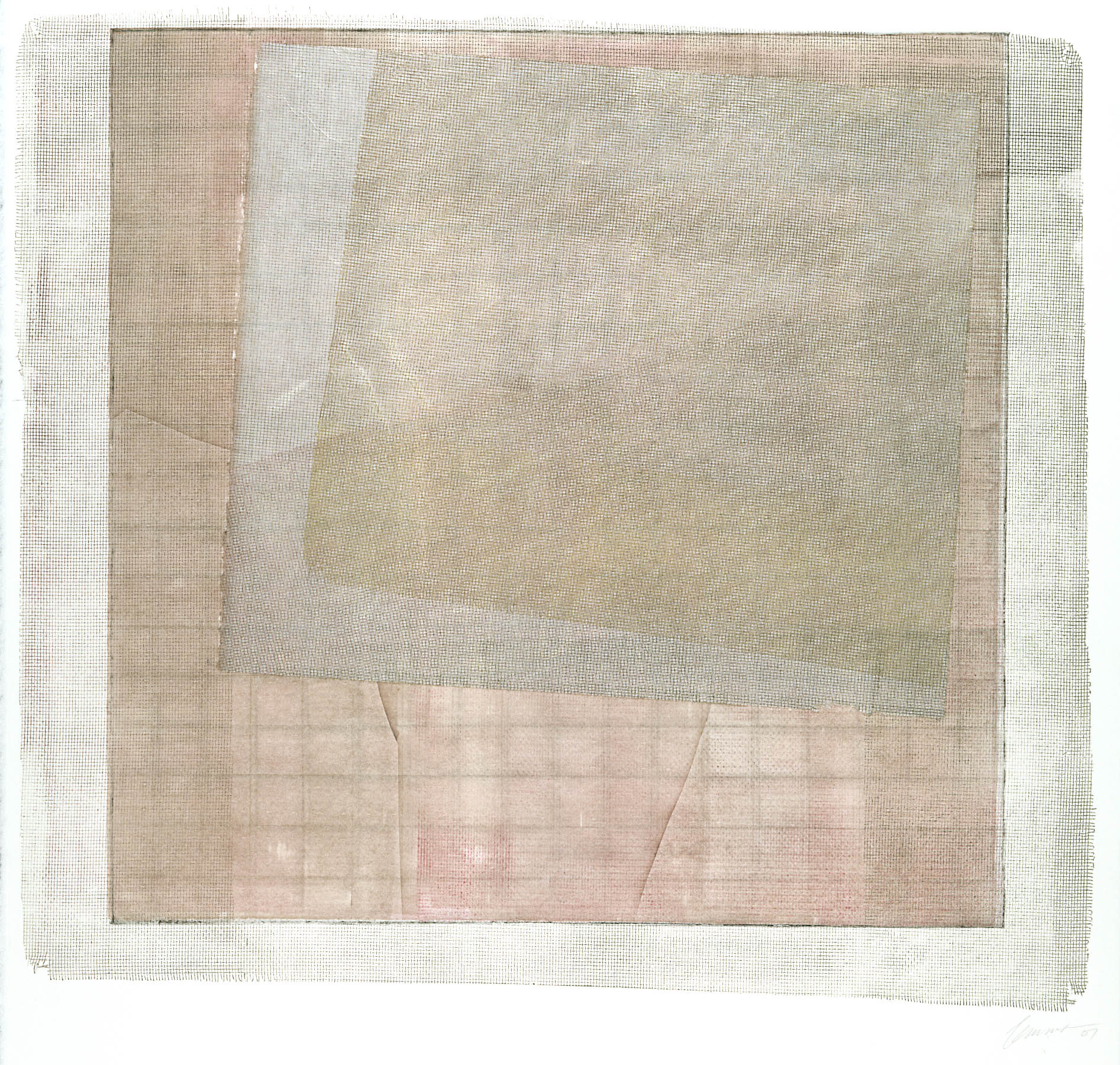 Screened Grid #1-Mastin White, 22x30 monoprint $2070