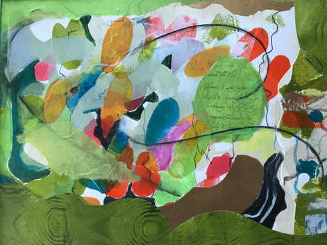 Spring Was Different-Cooley, monoprint collage on Revere silk 11x14 $375