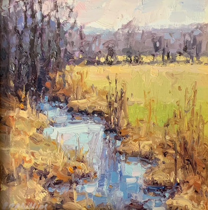 Field and Stream, Elise Phillips, oil 6x6 $450 sold