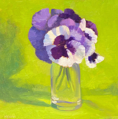 No Shy Violet by Meg Walsh, oil 12x12 $900