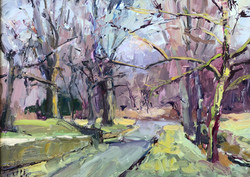 Tree Lined Memories, oil 9x12 $850