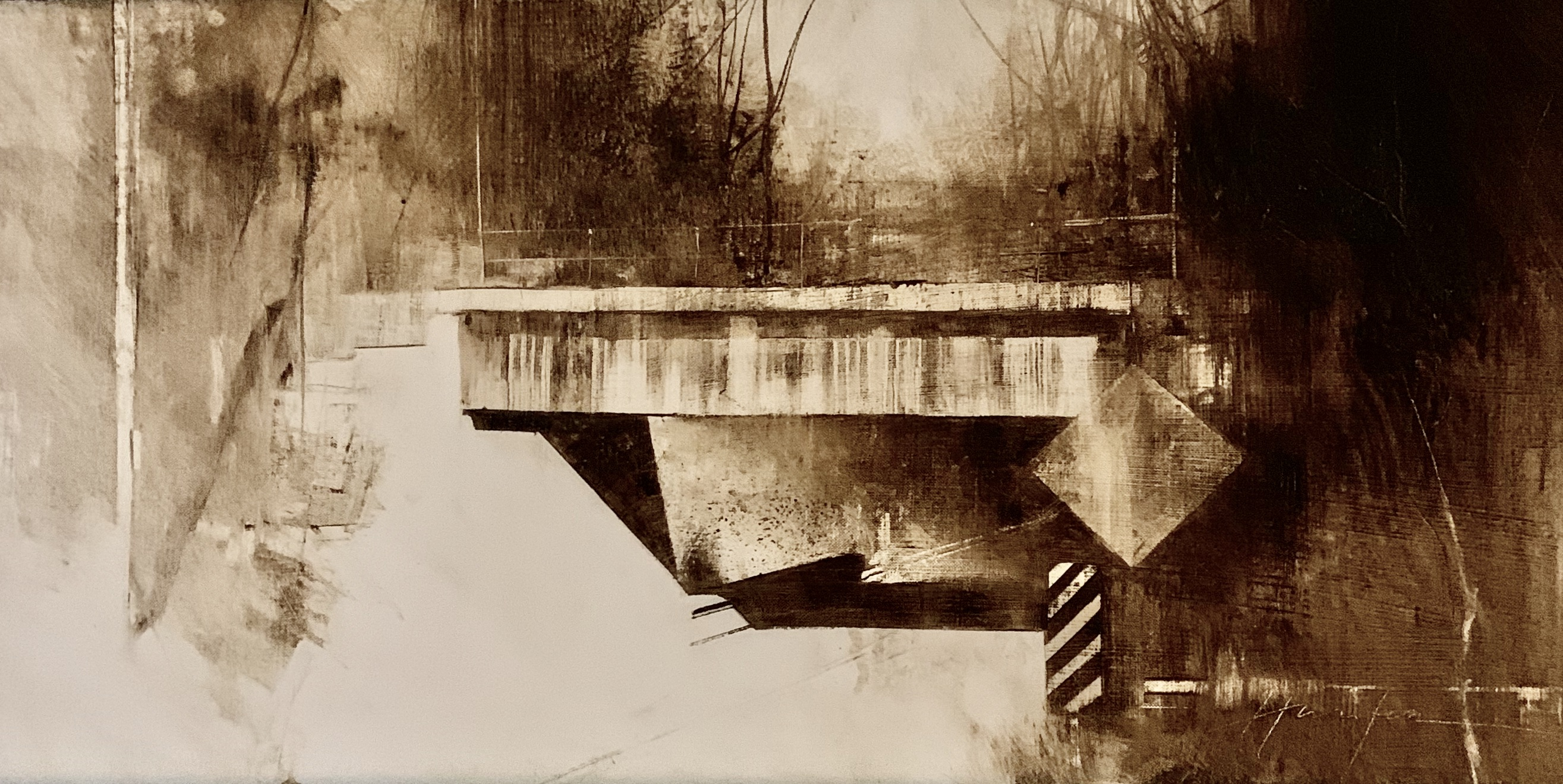 Abandoned Railroad Overpass-Hunter 12x24 $2850