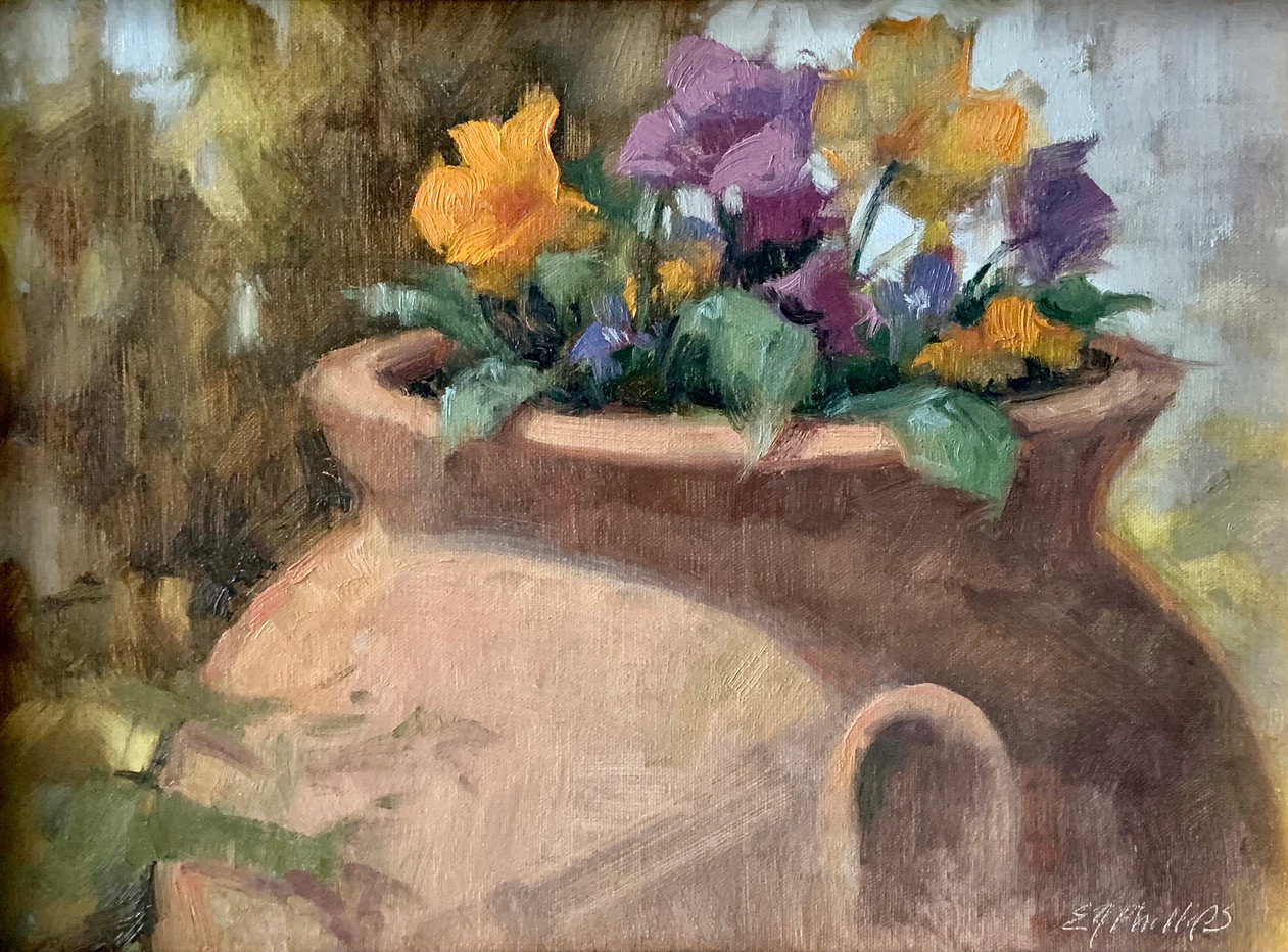 Pansies by Elise Phillips, oil 9x12 $1100