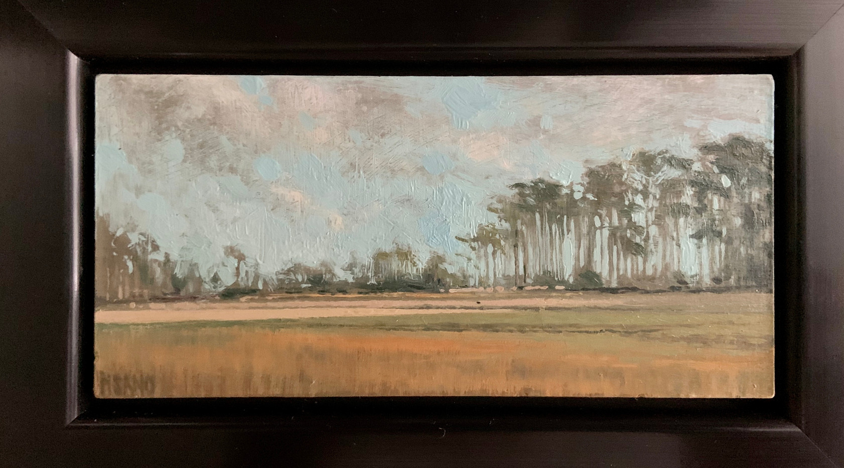 Blue Sky and Pines by Crista Pisano, oil 2.75x5.75 $775