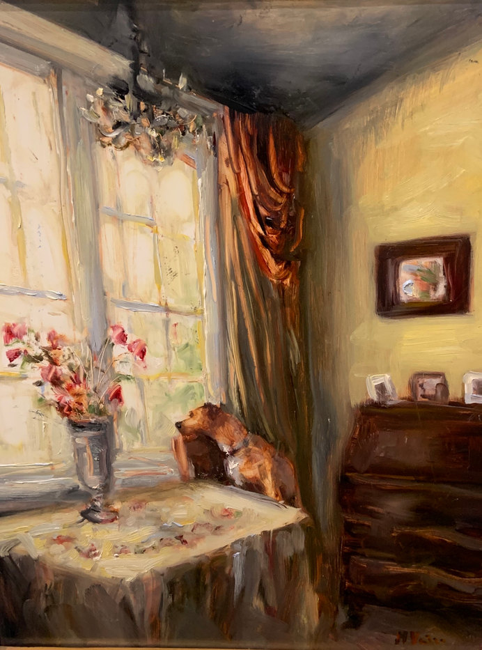 Waiting for His Master-Veiga 11x14 $895 SOLD (will take commission with your dog!)