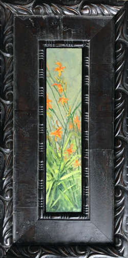 Tiger Lilies, oil on panel 11-1/2x2-1/2 $1025