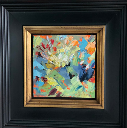 For Love of Summer Flowers by Cynthia Rosen, oil 4x4 $375