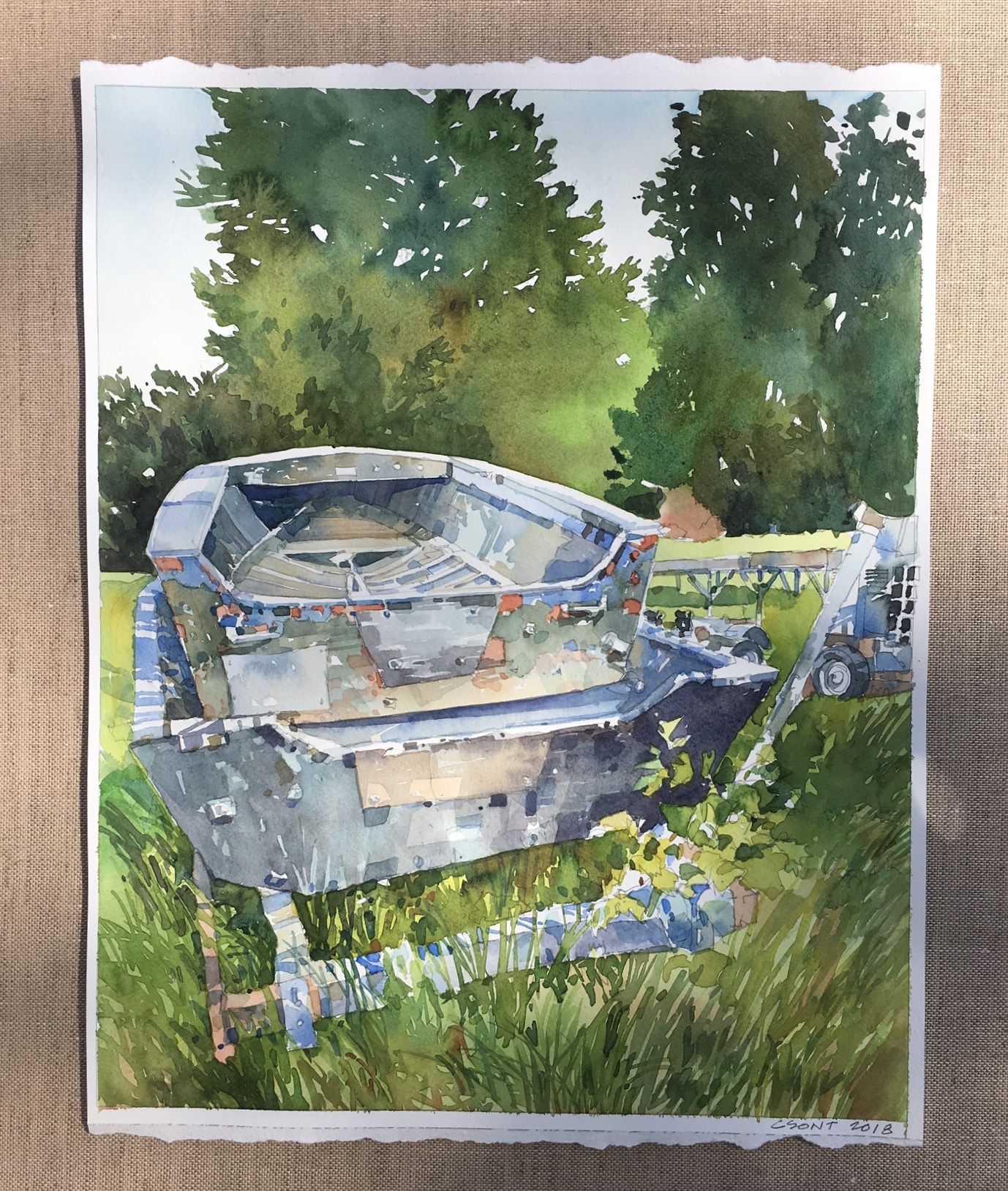 All Used Up-Csont, watercolor $975 18x21