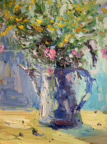 Still Life with Wildflowers by Stephen Haynes, oil 14x18 $1050