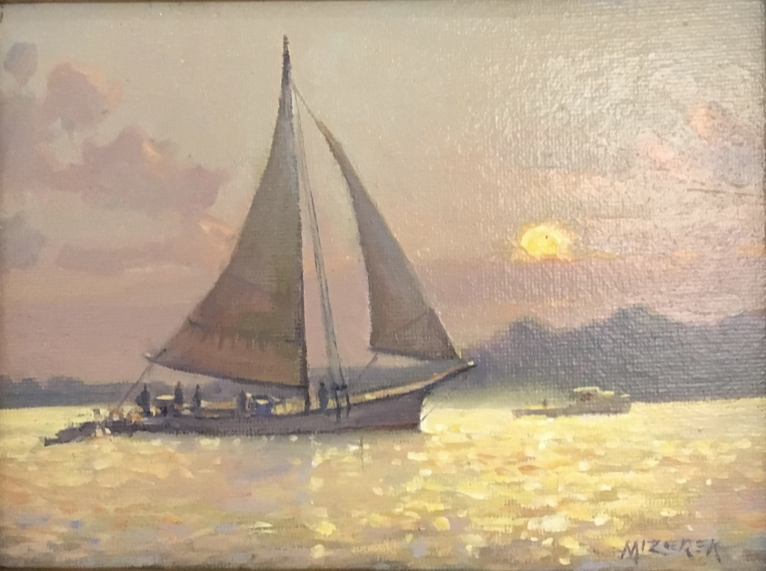 Sunset Sail-Mizerek, oil $650 6x8