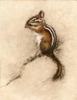 LittleCharmer-Fain, watercolor/etching $350