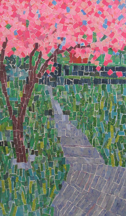 Cherry Blossoms on the Path, collage $2800