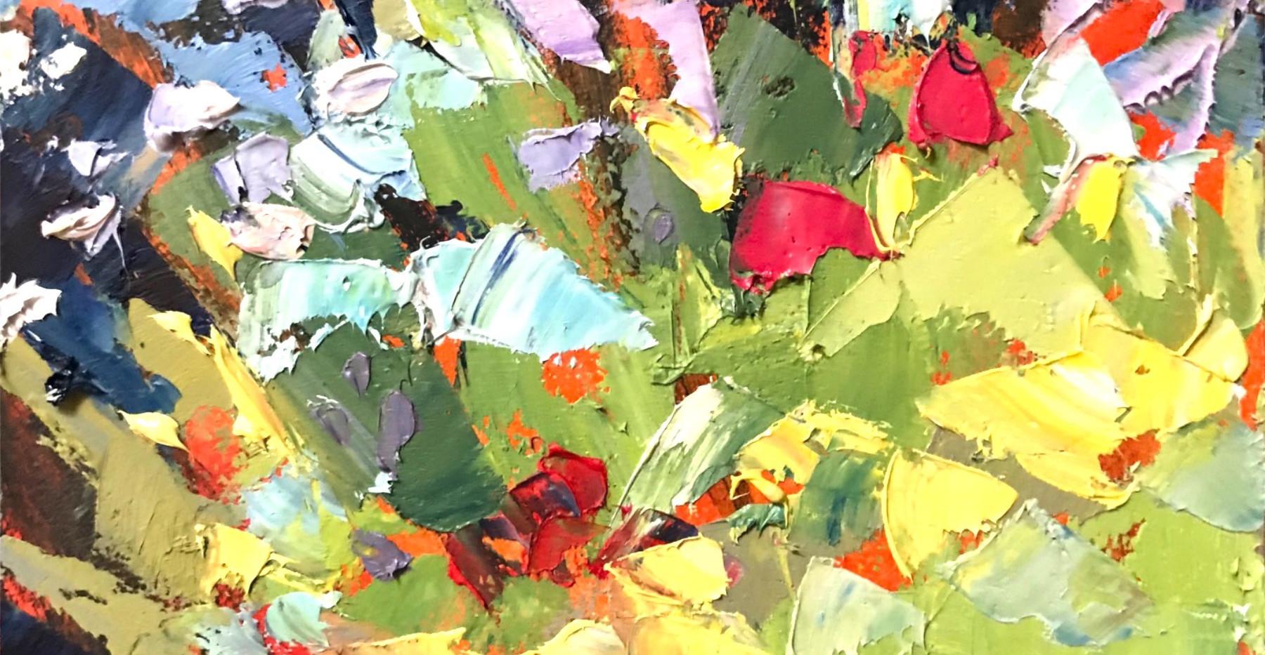 A Summer Garden-Rosen, oil 8x6 $675