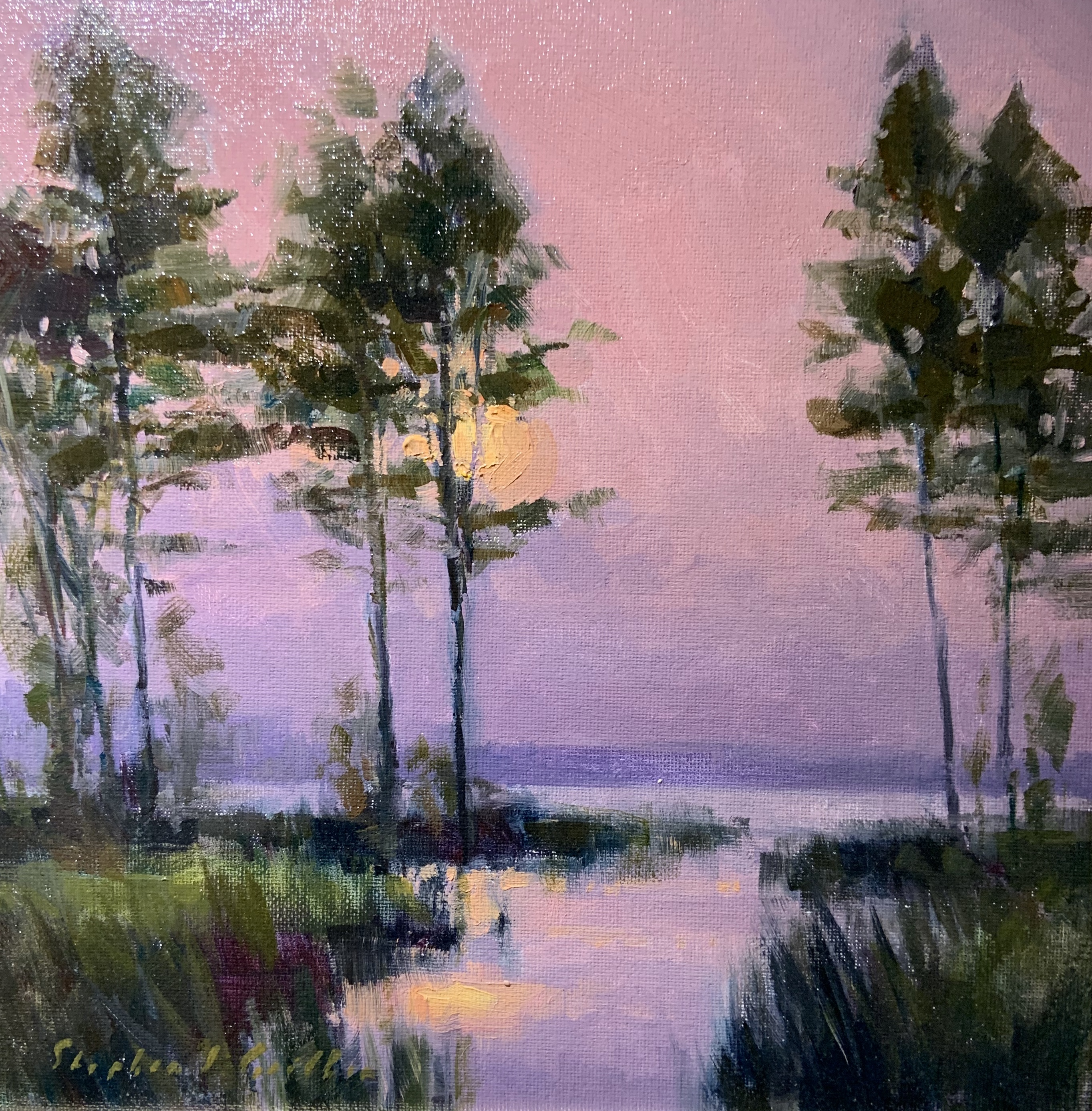 Sunset Through the Trees-Griffin, oil12x12 $700 SOLD
