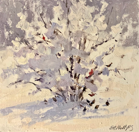 Birds in Snow, oil 6x6 $450 sold