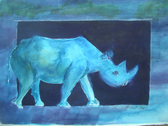 Blue and Alone, watercolor 16x20 $750