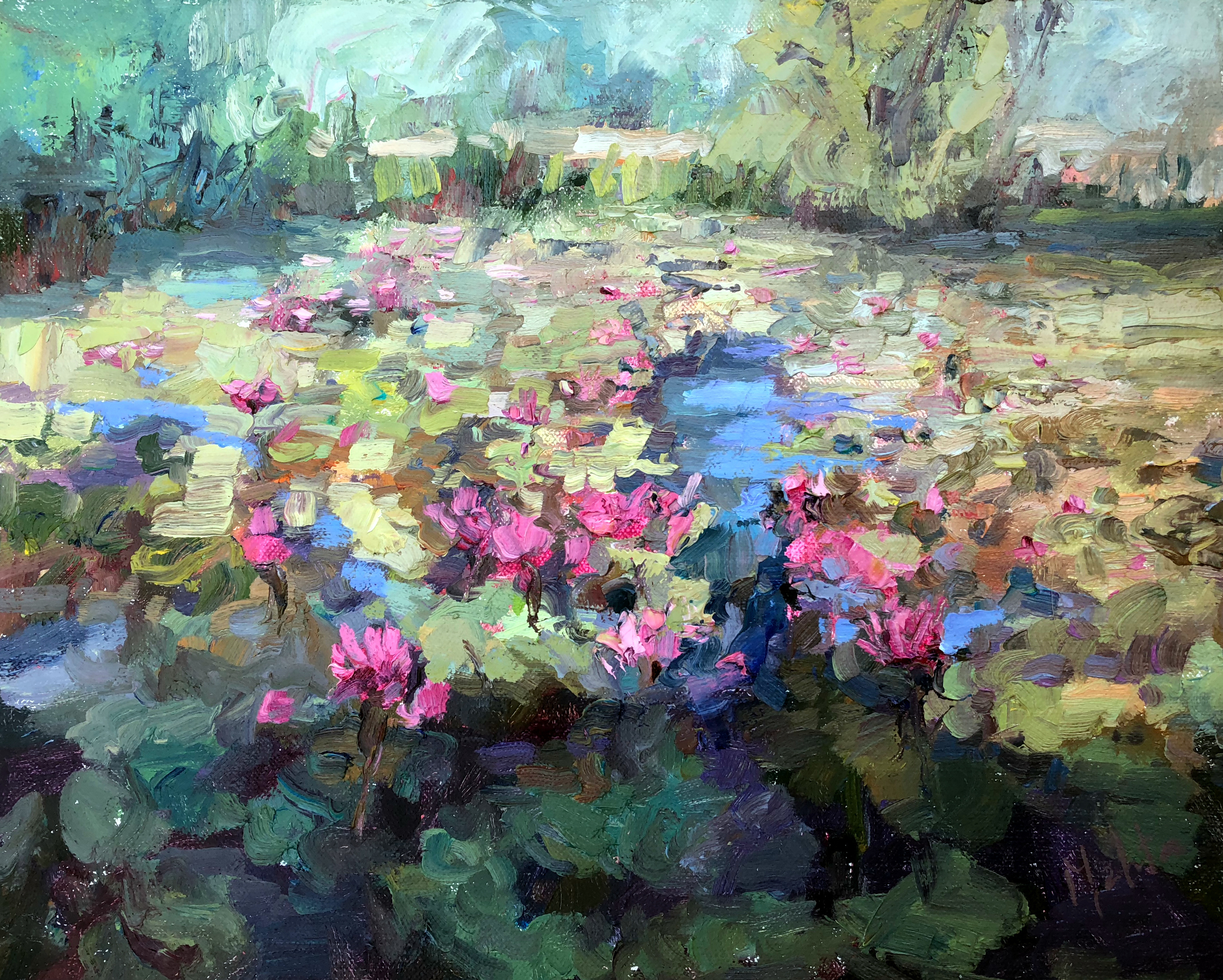 Lily Pond-Mehta, oil 9x12 $900