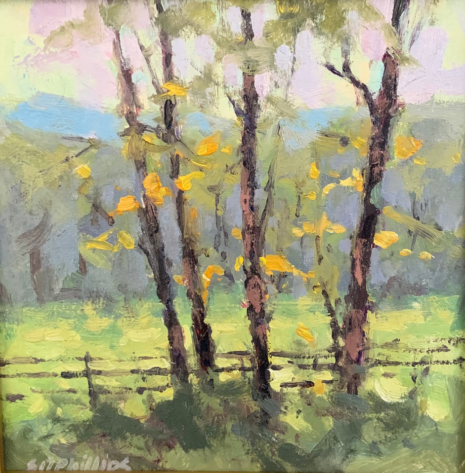 Fence Line, Elise Phillips, oil 6x6 $450 sold