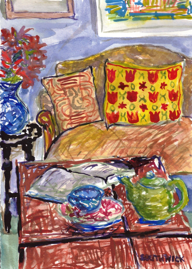 Tea Time,S Southwick, watercolor 5x7 $325