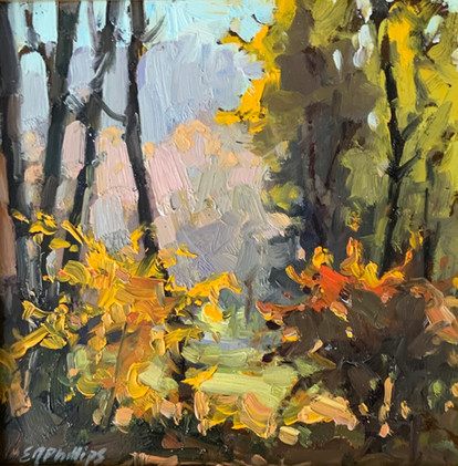 Forest Edge, Elsie Phillips, oil 6x6 $450