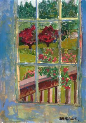 Dusk at the Door, S Southwick, watercolor 5x7 $325