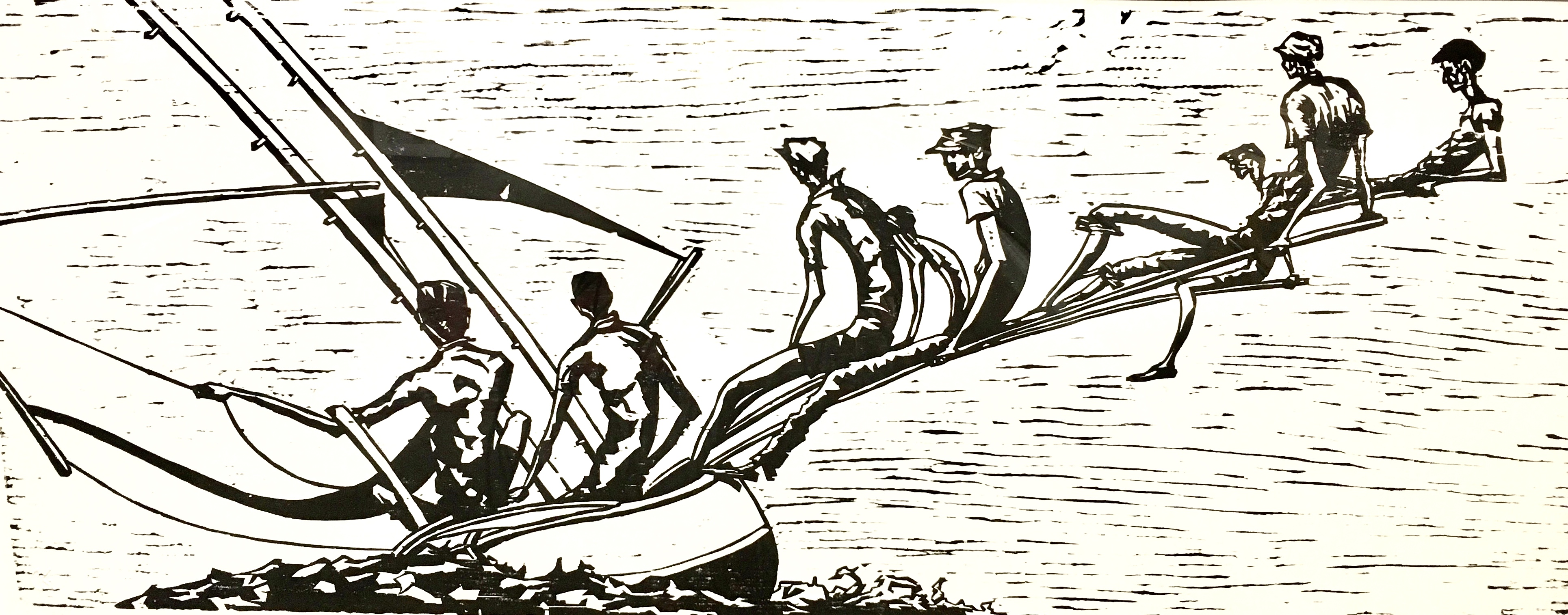 PBMcMartin-Log Canoe woodcut $1500
