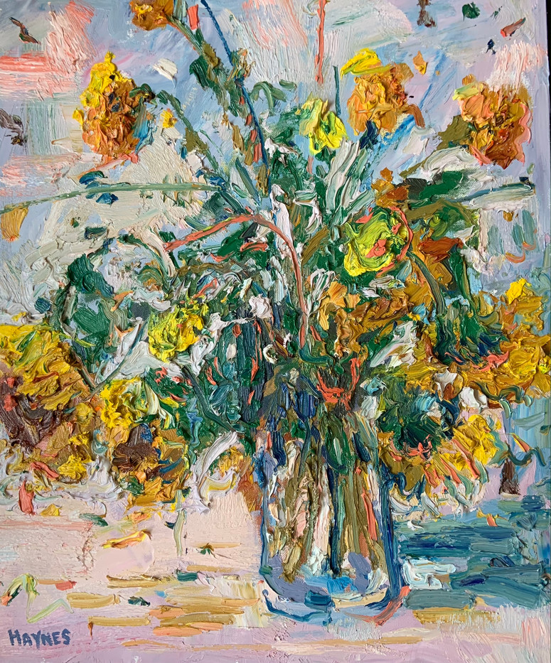 Still Life with Sunflowers by Stephen Haynes, oil 20x24 $1650