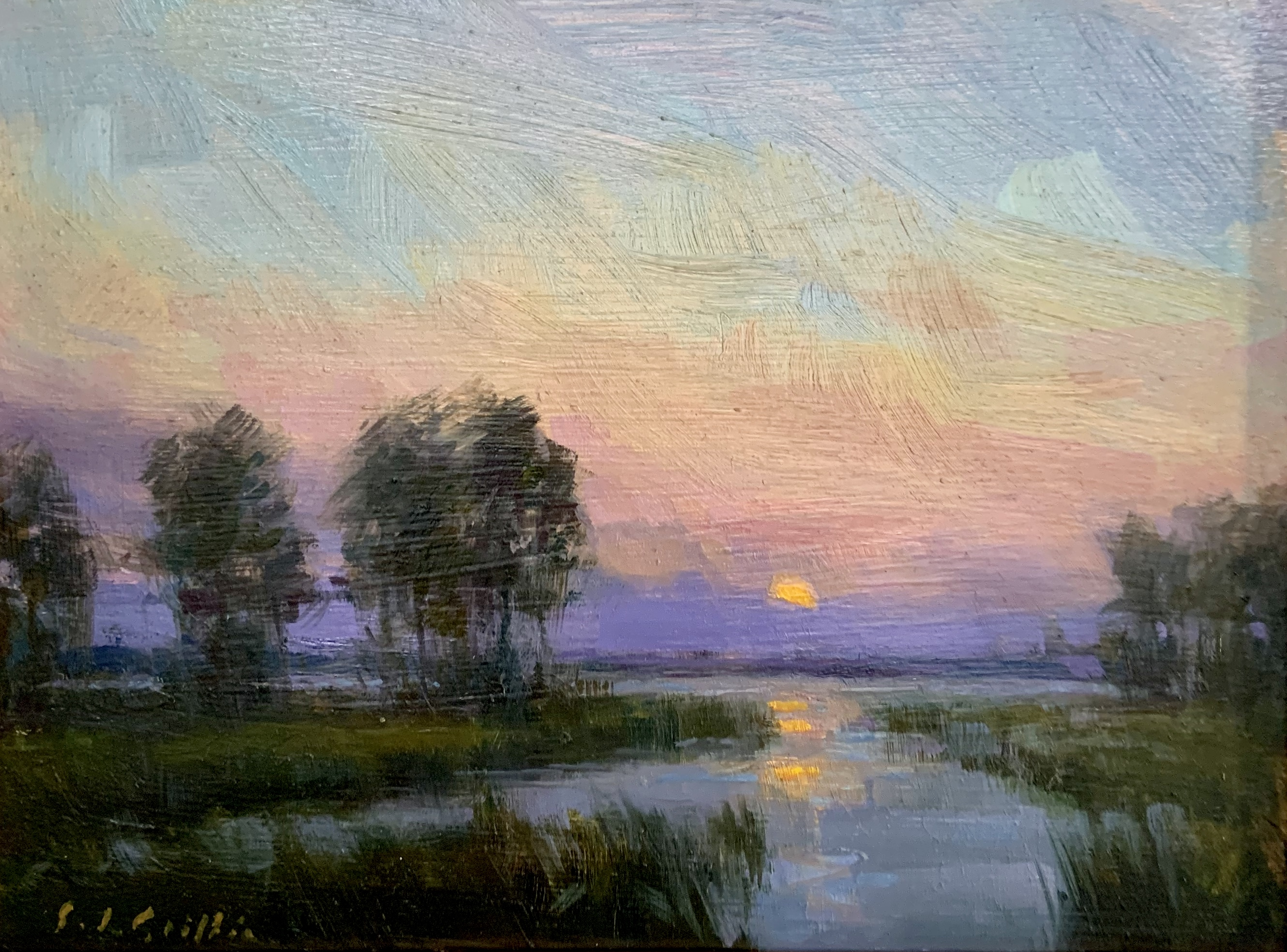 Sunset on Back Creek-Griffin, oil9x12 $550
