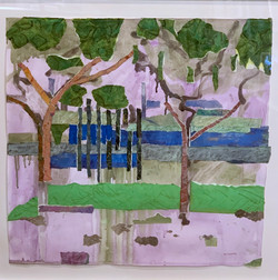 Roslyn Farm Reimagined, collage 20x20 $750