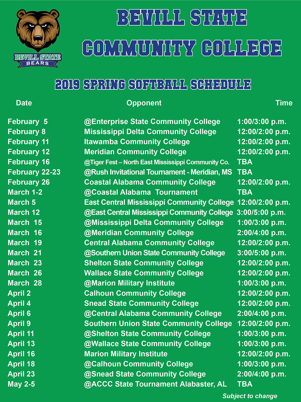 Bevill State 2019 Spring Softball Schedule