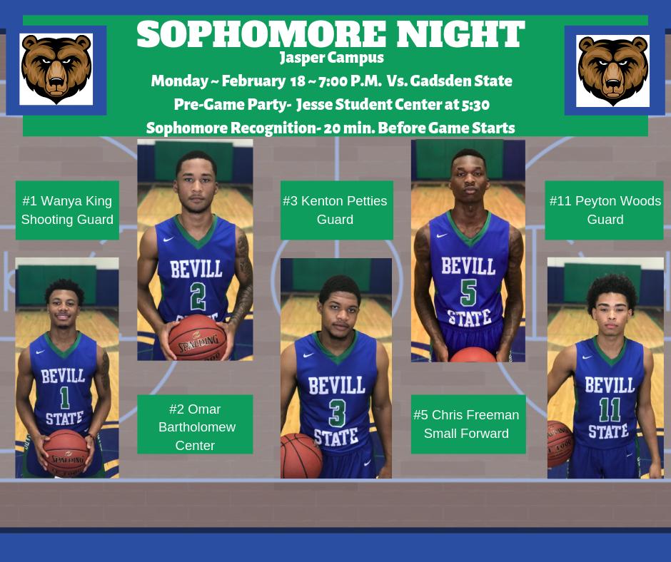 Bevill State Basketball Sophomore Night flyer