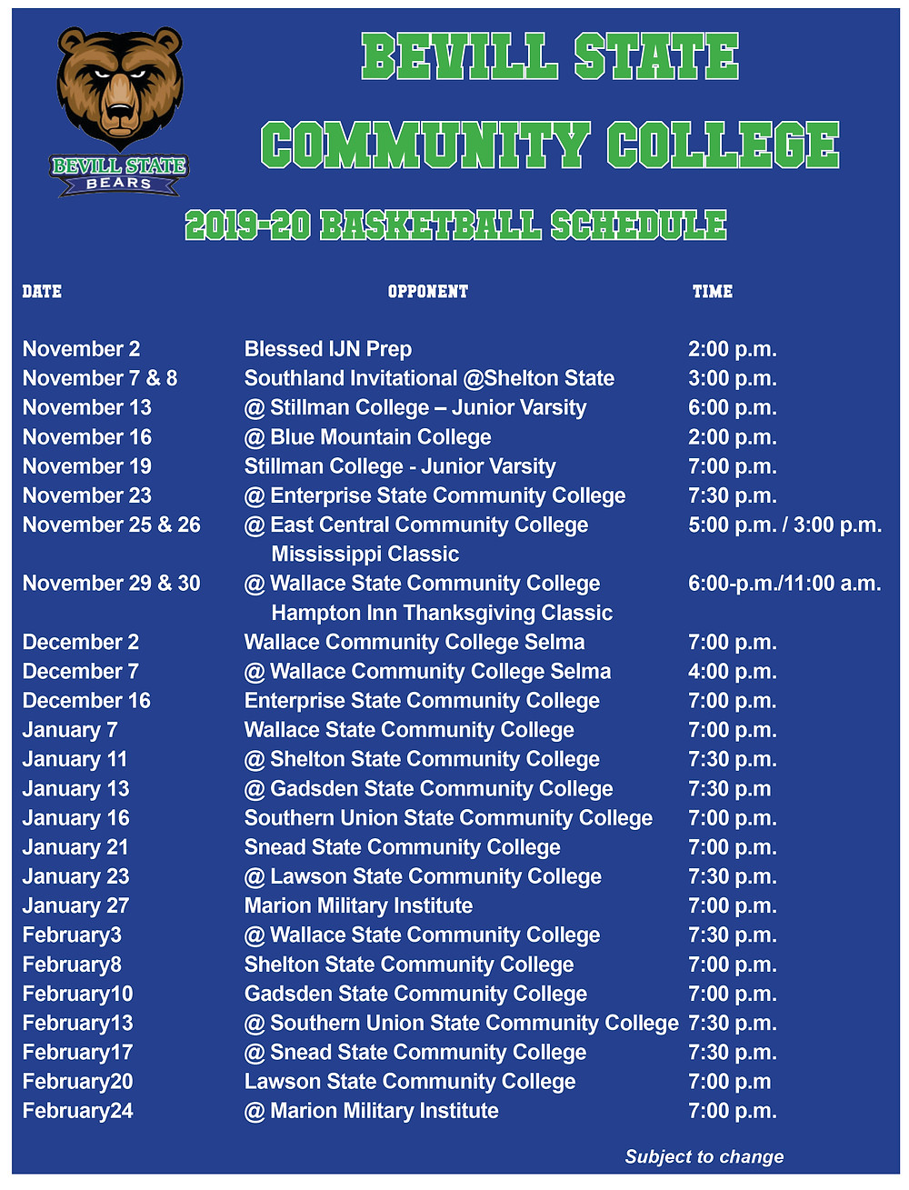 Bevill State Basketball Schedule 2019-2020