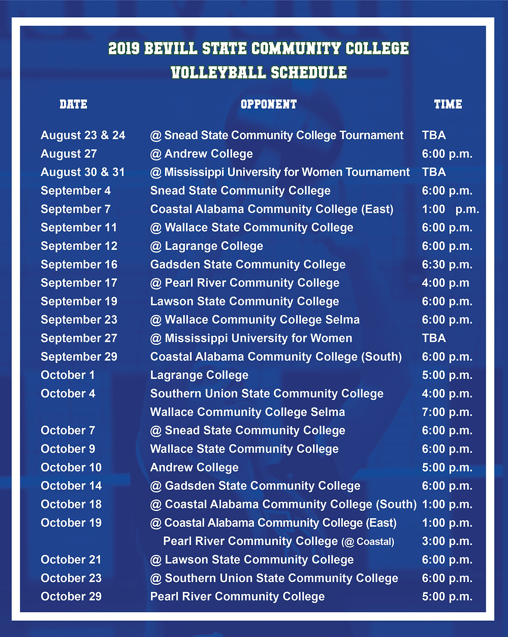 Bevill State Volleyball 2019 Schedule Graphic