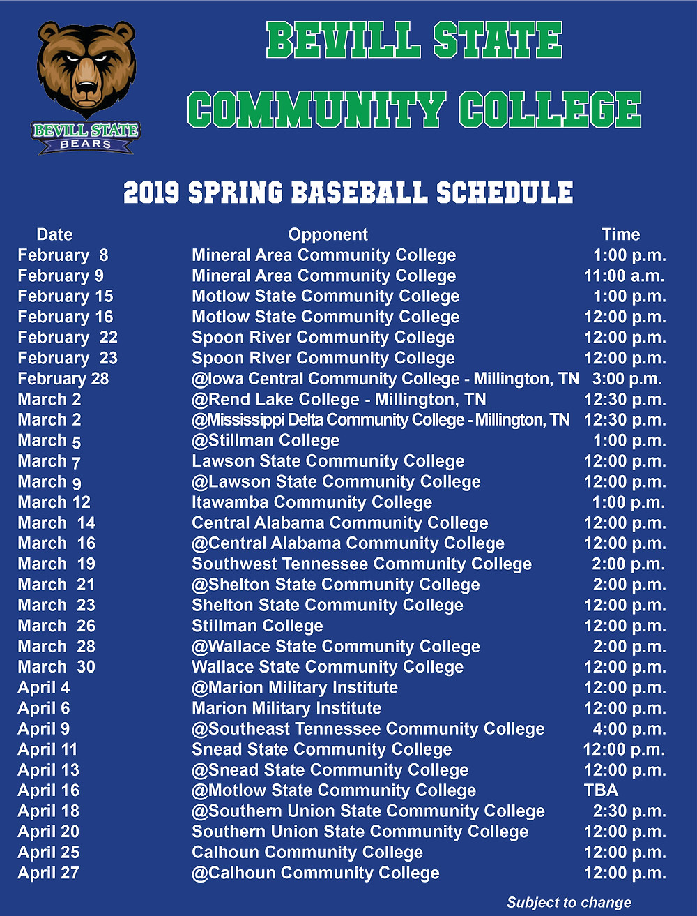 Bevill State 2019 Spring Baseball Schedule