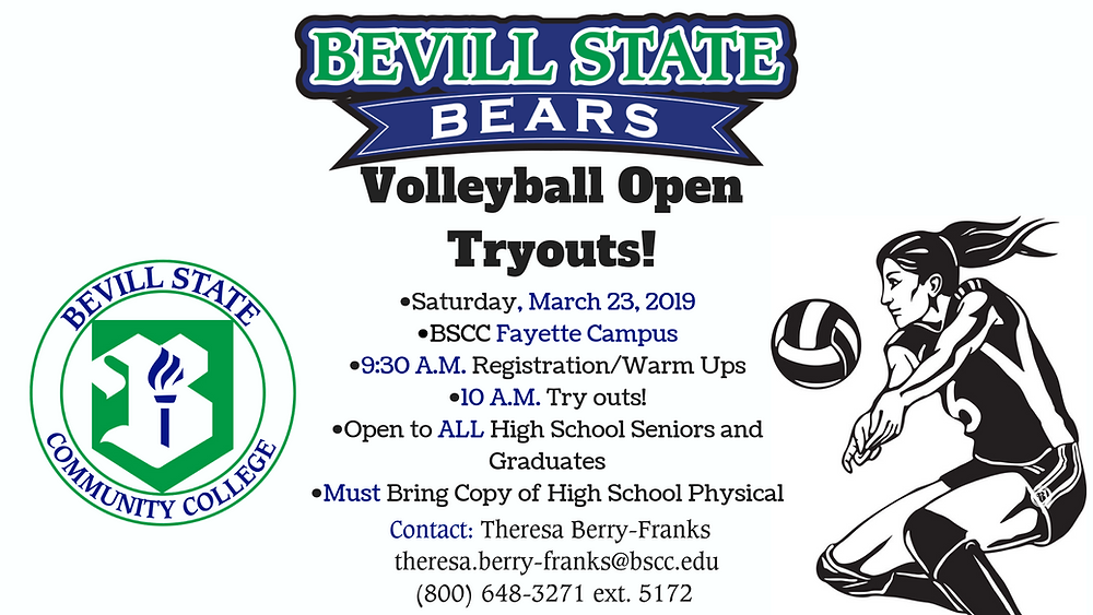 Bevill State Volleyball Open Tryout Graphic