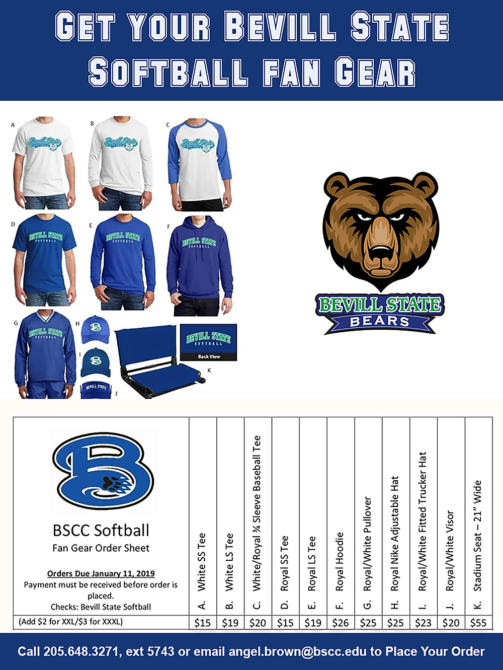 Bevill State Softball Fan Gear Handout