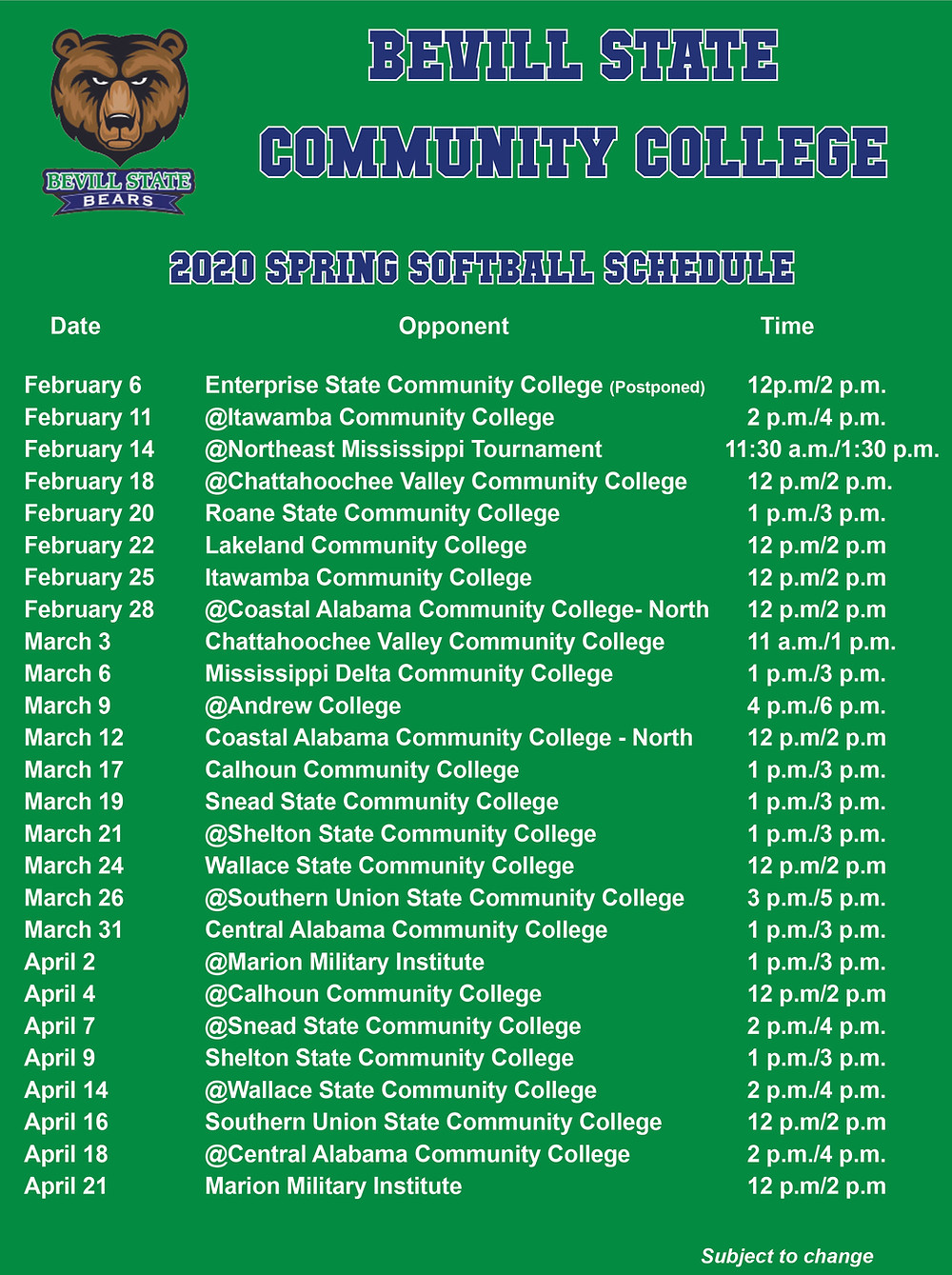 2020 Spring Softball Schedule Graphic