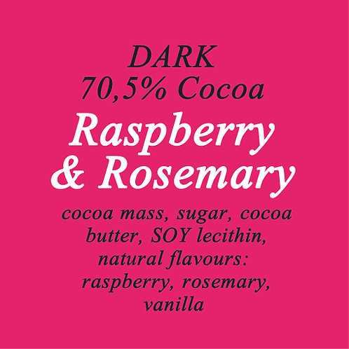 Raspberry & Rosemary Dark Chocolate