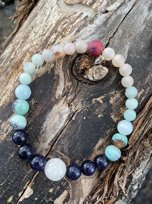 aqua terra agate, aquamarine, amazonite, druzy, & lava rock mala bracelet